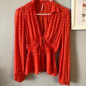 Free People floral blouse coral